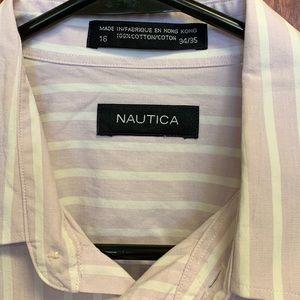 Nautical stripe cotton dress shirt 16 34-35